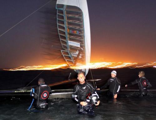 Paul Larsen and Vestas Sailrocket Team (Photo courtesy of Sailrocket.com)