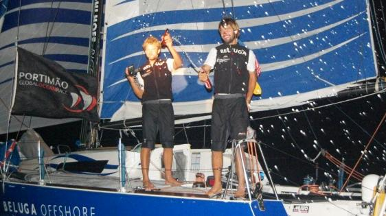 Boris Herrmann and Felix Oehme At Leg 4 Finish (Photo Courtesy of Portimao Global Ocean Race)