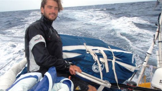 Boris Herrmann At Helm on Beluga Racer (Photo Courtesy of Beluga Racer / Portimao Global Ocean Race)