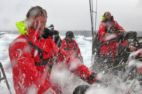 Green Dragon Crew Getting Hosed (Photo by Guo Chuan/Green Dragon Racing/Volvo Ocean Race)