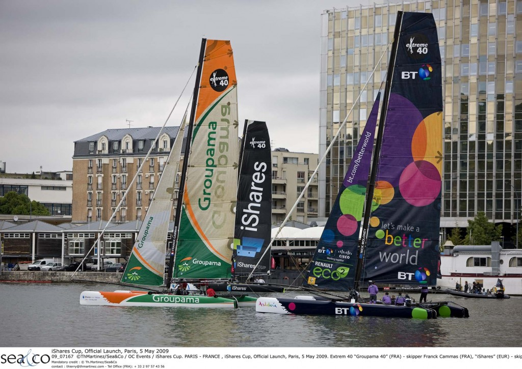 iShares Cup Extreme 40's Sailing on the Seine in Paris (Photo By Thierry Martinez / OC events / iShares Cup