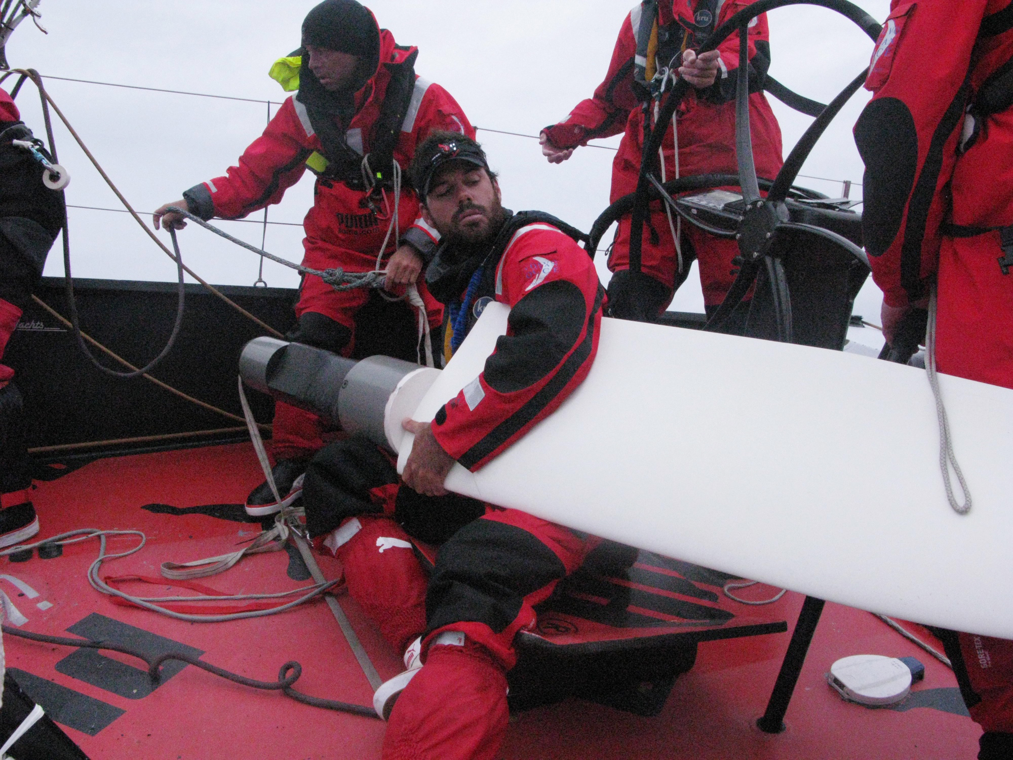 PUMA Crew Prepairing to Mount New Rudder (Photo by Rick Deppe / PUMA Ocean Racing / Volvo Ocean Race)