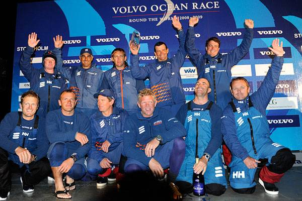 Ericsson 4 Crew on Podium in Sandhamn (Photo by Rick Tomlinson / Volvo Ocean Race)