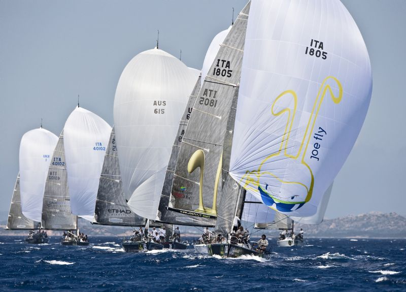 Joe Fly (ITA) Leads The Fleet Downwind (Photo by Kurt Arrigo)
