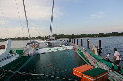 Groupama 3 At Berth In New York (Photo by Loic Dorez / Team Groupama)