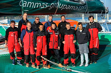 Groupama 3 Crew For 2009 Transatlantic Crossing Record Attempt (Photo by Yvan Zedda / Team Groupama)