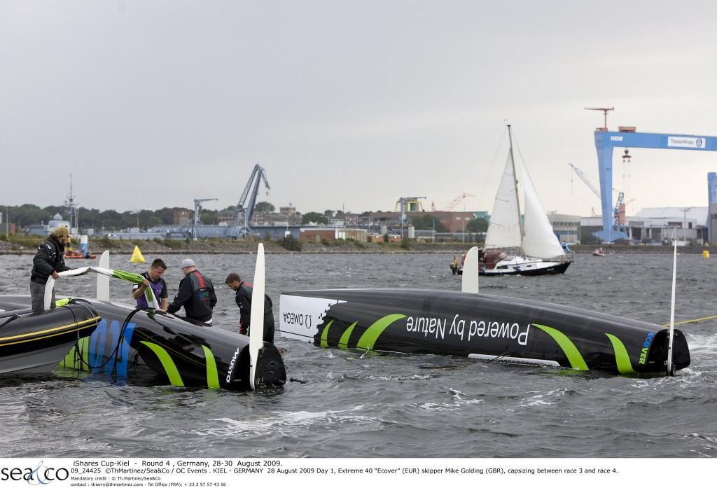 ecover capsizes in first day of ishares cup action in kiel germany challenge and adventure. Black Bedroom Furniture Sets. Home Design Ideas