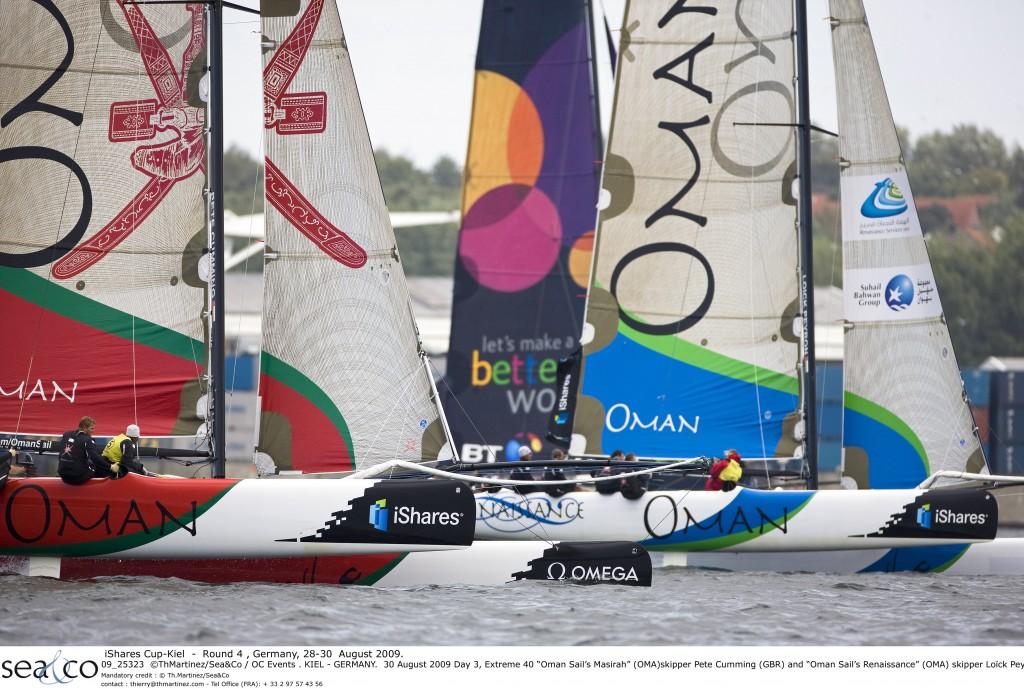 iShares Cup Extreme 40 Oman Sail's Masirah skipper Pete Cumming and Oman Sail's Renaissance skipper Loick Peyron  (Photo byTh Martinez/Sea&Co / OC Events )