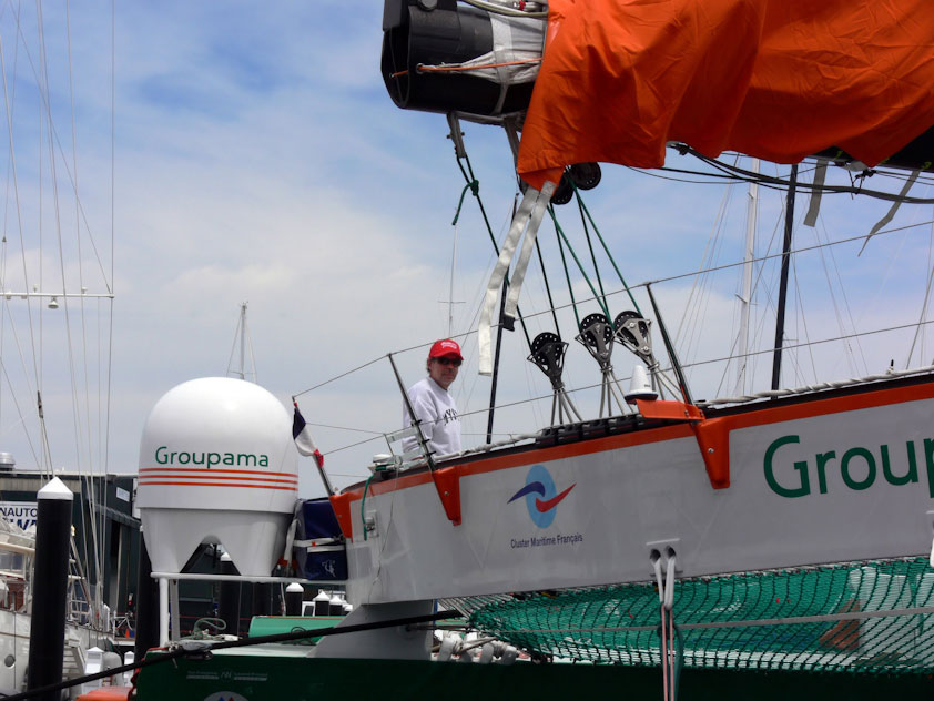 Challenge and Adventure's George Bekris onboard Groupama 3 (Photo by Donna Erichsen)