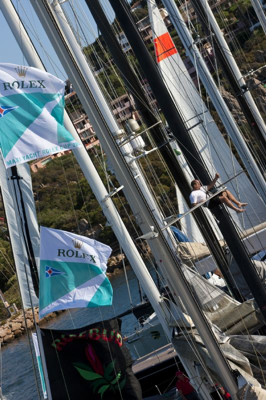 Maxi Yacht Cup In Porto Cervo Sardinia Prepartations (Photo by Carlo Borlenghi)