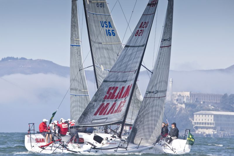 Melges 32's Taboo and Pegasus Cross Tacks (Photo by Rolex / Daniel Forster)