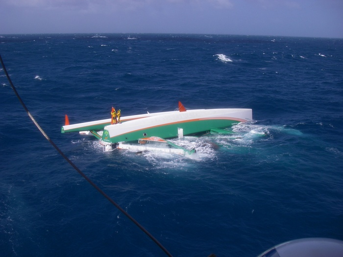 Groupama 3 Capsizes In The Pacific Ocean During 2008 Jules Verne Trophy Attempt  (Photo by DR)