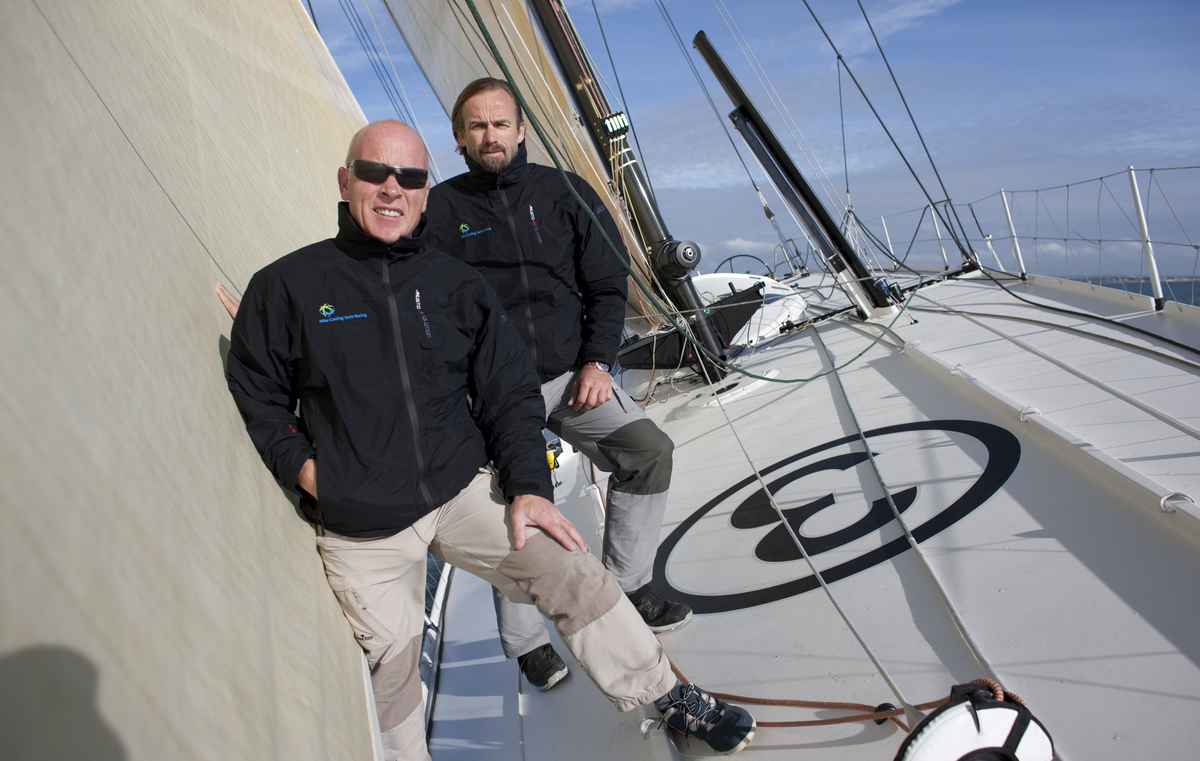 Mike Golding and Javier Sanso On Board Mike Golding Yacht Racing (Photo by ...