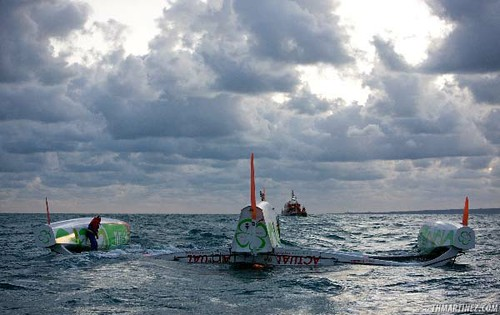 Actual Capsizes During First Night of Transat Jacques Vabre (Photo by Thierry Martinez / Sea&Co)
