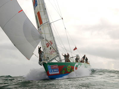 Cork skippered by Richie Fearon finish in 1st place in race 3 from Rio De Janeiro to Cape Town in the 09-10 Clipper Round the World Yacht Race. (Photo by Clipper Ventures PLC)