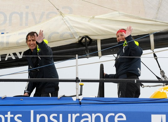 Dee Caffari and Brian Thompson Complete Transat (Photo by Marcel Mochet)