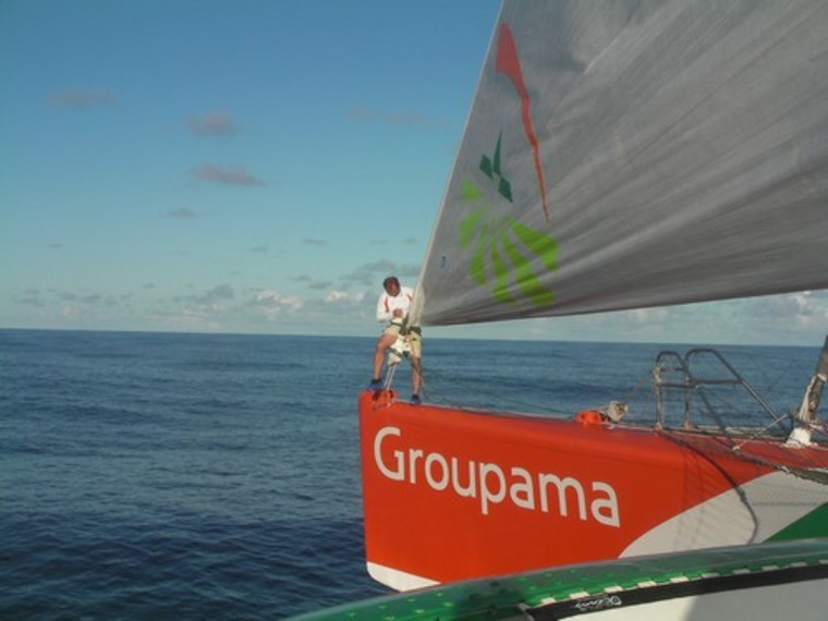 Groupama 3 Loic Le Mingnon In Action (Photo by Team Groupama)