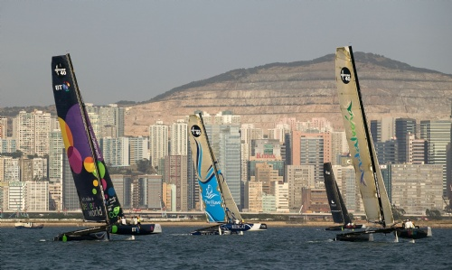 Extreme Sailing Series Racing In Hong Kong (Photo by Guy Nowell/OC Events)
