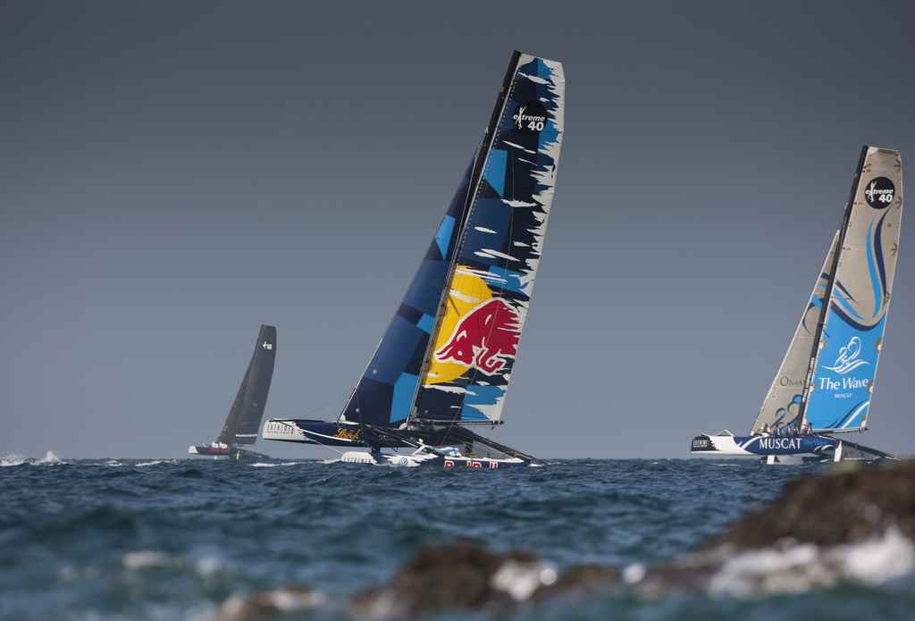 "Red Bull Extreme Sailing Team"". Shown here racing close to the shore line. Skippered by Roman Hagara(AUT),Hans Peter Steinacher(AUT),Gabriele Olivo(ITA),David Vera(ESP)(Phot by Mark Lloyd/Lloyd Images/OC Events)"