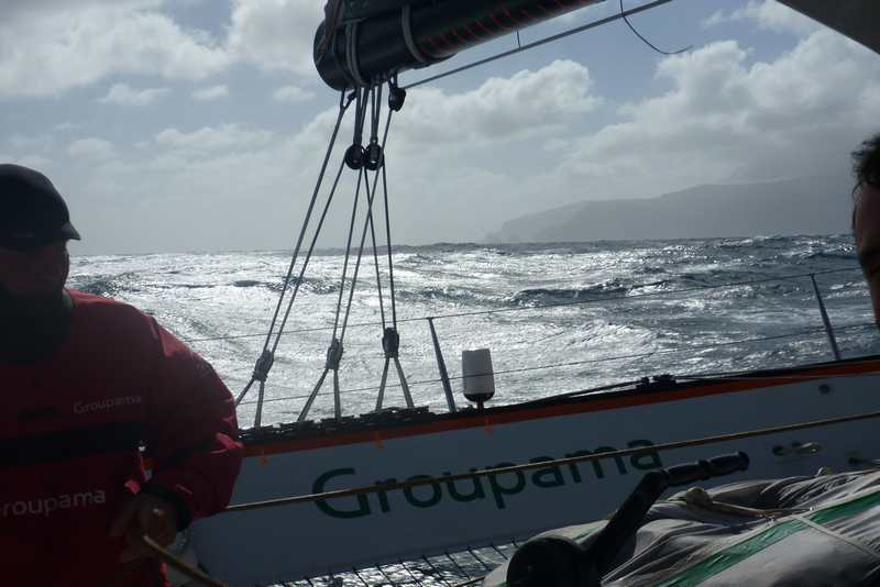 Groupama 3 Passing Auckland Island (Photo by Team Groupama)