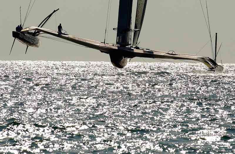 BMW Oracle Takes Off (Photo by Jose Jordán/AFP/33rd America's Cup)
