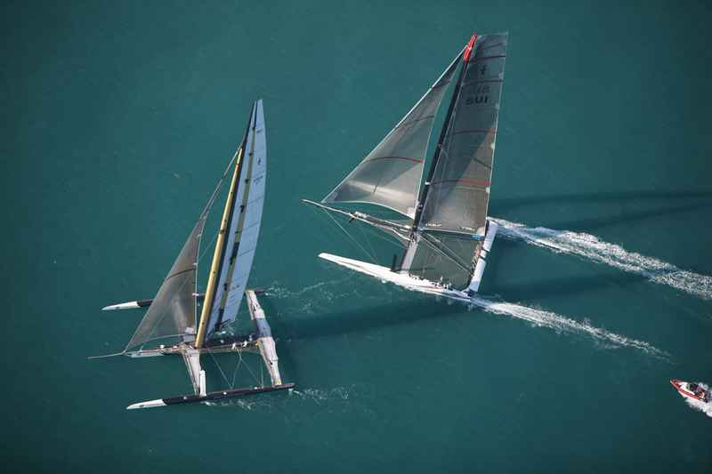 BMW Oracle and Alinghi 5 Battle for the America's Cup (Photo by Gilles Martin-Raget/BMW Oracle)