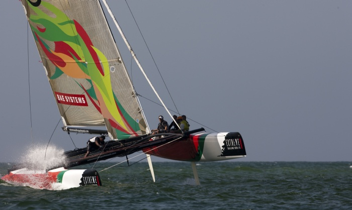 Masirah powers down the matchracing course during day 3 of the Extreme Sailing Series Asia at The Wave, Muscat. (Photo by Mark Lloyd/Lloyd Images/OC Events)