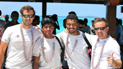 Hooch, Nawaf, Haythem and Nobi In The Maldives (Photo courtesy of Oman Sail)