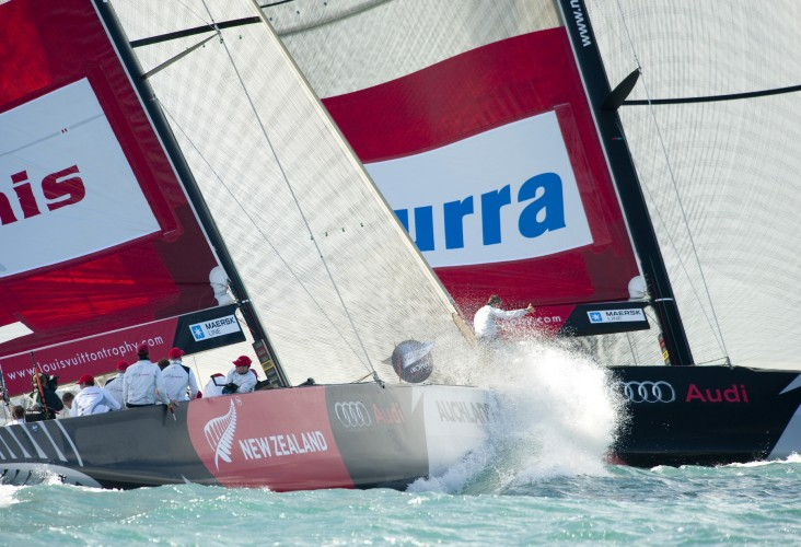 Artemis and Azzura Battle It Out (Photo by  Bob Grieser/outsideimages.co.nz/Louis Vuitton Trophy, Auckland New Zealand)