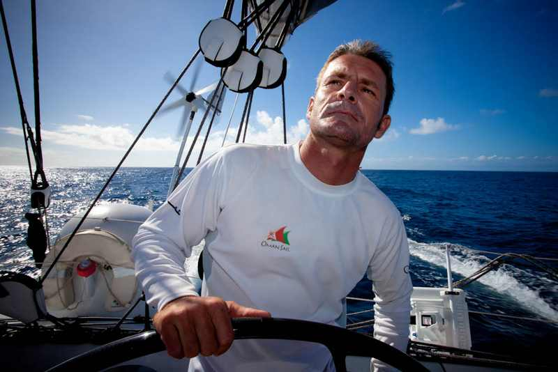 Sidney Gavignet On Majan's Helm (Photo by Mark Covell / Oman Sail)