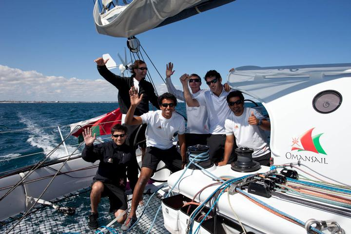 The crew of Leg 4 Marc Lagesse, Mohammed al Ghailani, Mohsin Al Busaidi, Paul Standbridge, Sidney Gavignet, Yann Regniau (Photo by Mark Covell / Majan / Indian Ocean 5 Capes Race)