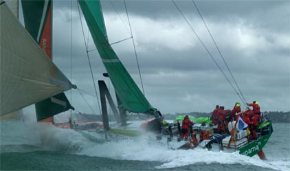 Groupama 70 Starting Sevenstar Round Britain and Ireland Race. (Photo courtesy of Franck Cammas and Team Groupama)