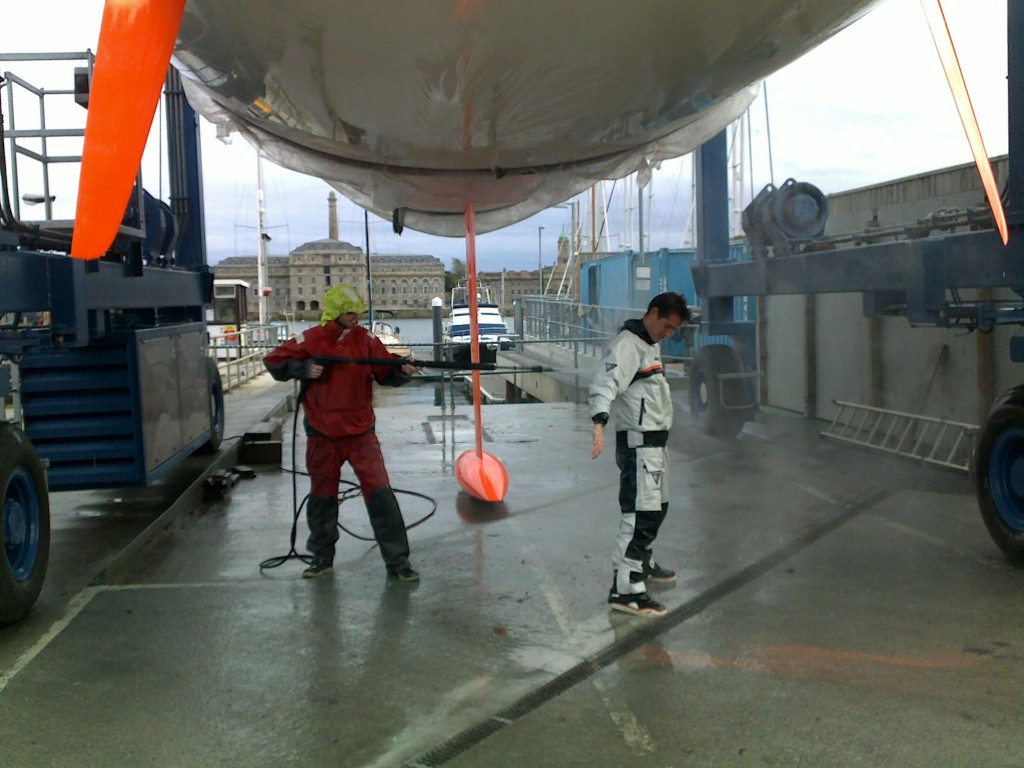 Final Rinse for DMS Boat and Crew (Photo by Colin Merry)
