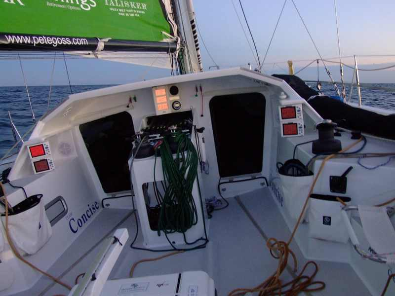 Looking forward from cockpit on DMS dluring crossing to St. Malo, France. (Photo by Colin Merry)