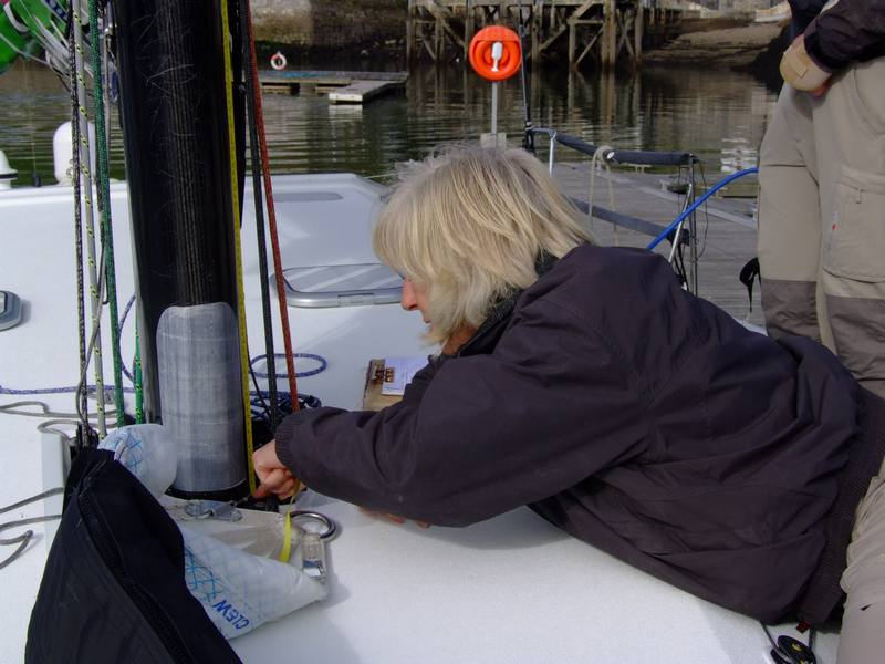 Stephanie Merry measuring DMS prior to departure from Plymouth, UK (Photo by Colin Merry)