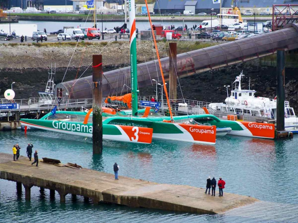 Groupama 3 At the outer dock (Photo by Colin Merry)
