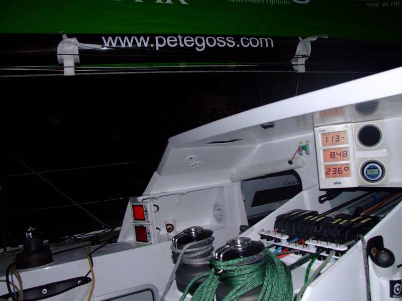 Nighttime on Deck of DMS during the crossing to France with Pete Goss.  (Photo by Colin Merry)