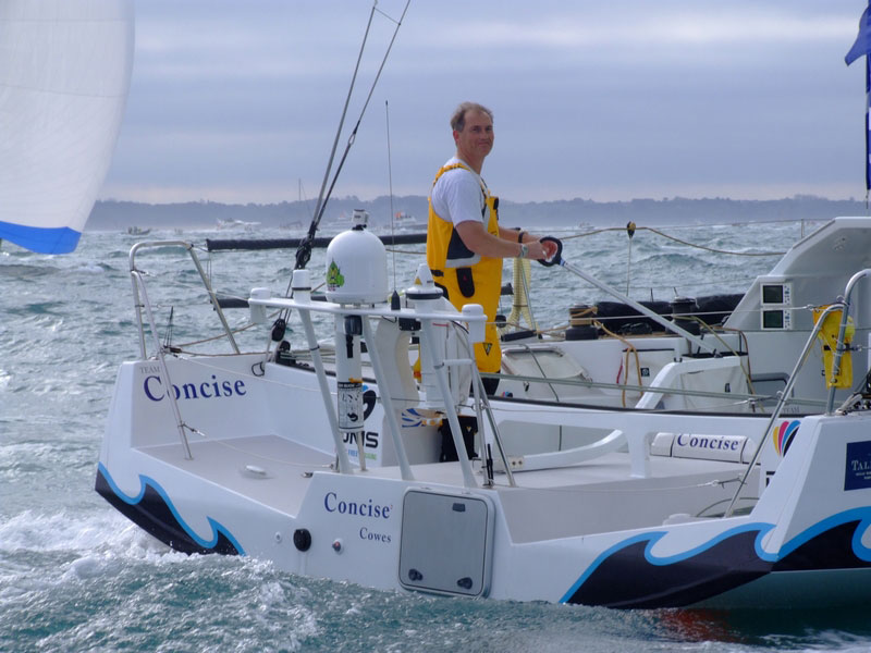 Pete Goss at finish of The Route du Rhum in Guadalupe