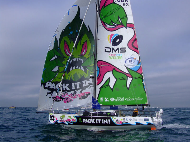 Pete Goss and DMS at finish of Route du Rhum 2010
