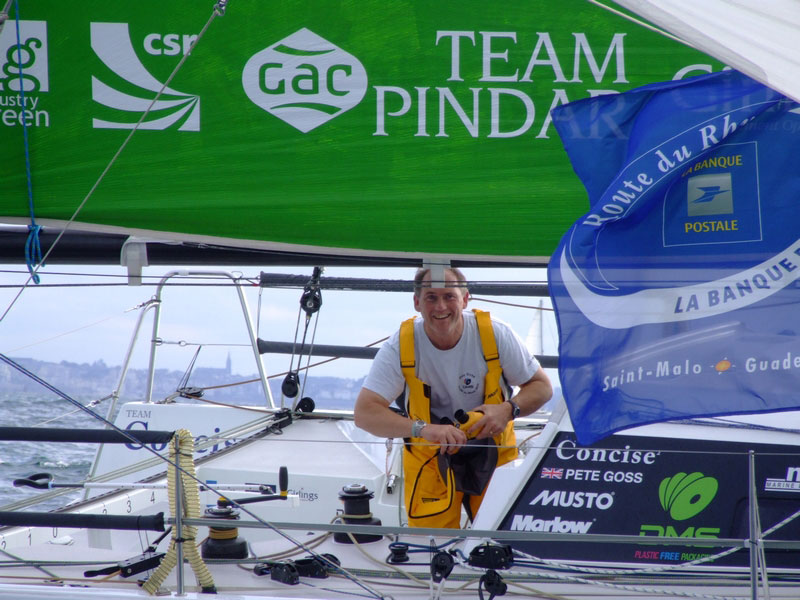 Pete Goss on his Class 40 DMS at the finish of the Route du Rhum 2010