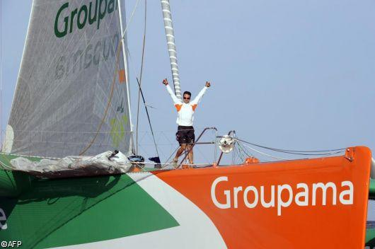 Franck Cammas on Groupama 3 Wins The Route du Rhum 2010 (Photo Copyright AFP)