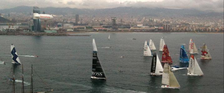 Barcelona World Race Fleet At Start (Photo courtesy of Barcelona World Race)