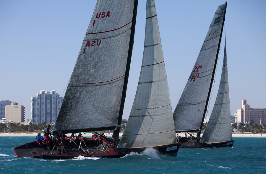 RC 44's in Miami (Photo by Gilles Martin- Raget / BMW Oracle)