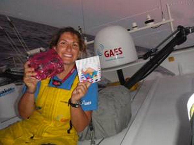 Dee Caffari Celbrates Her Birthday At Sea (Photo by Anna Corbella/GAES)