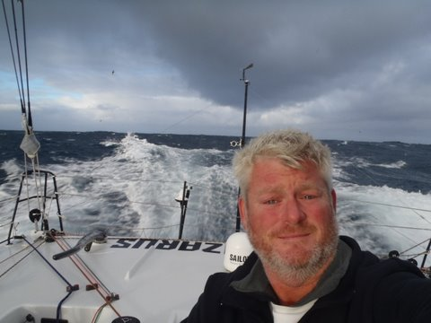 Brad Van Liew celebrates New Years in the Southern Ocean (Photo courtesy of Team Lazarus)