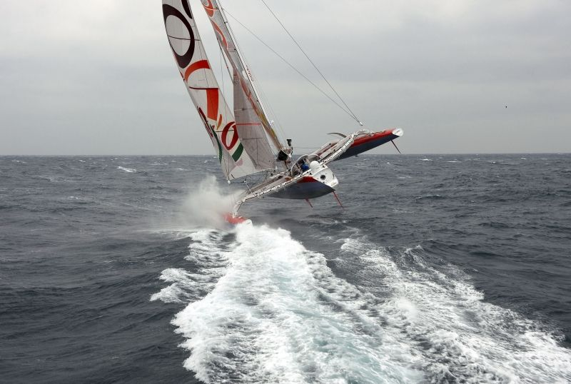 Thomas Coville at start of Round The World Record Attempt (Photo by Sea & Co.)