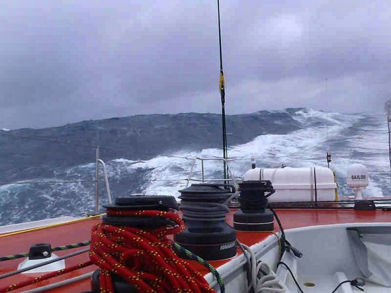 Gutek experiences some big seas in the Southern Ocean on his yacht, Operon Racing. (Photo by Velux 5 Oceans/ Zbigniew Gutkowski)