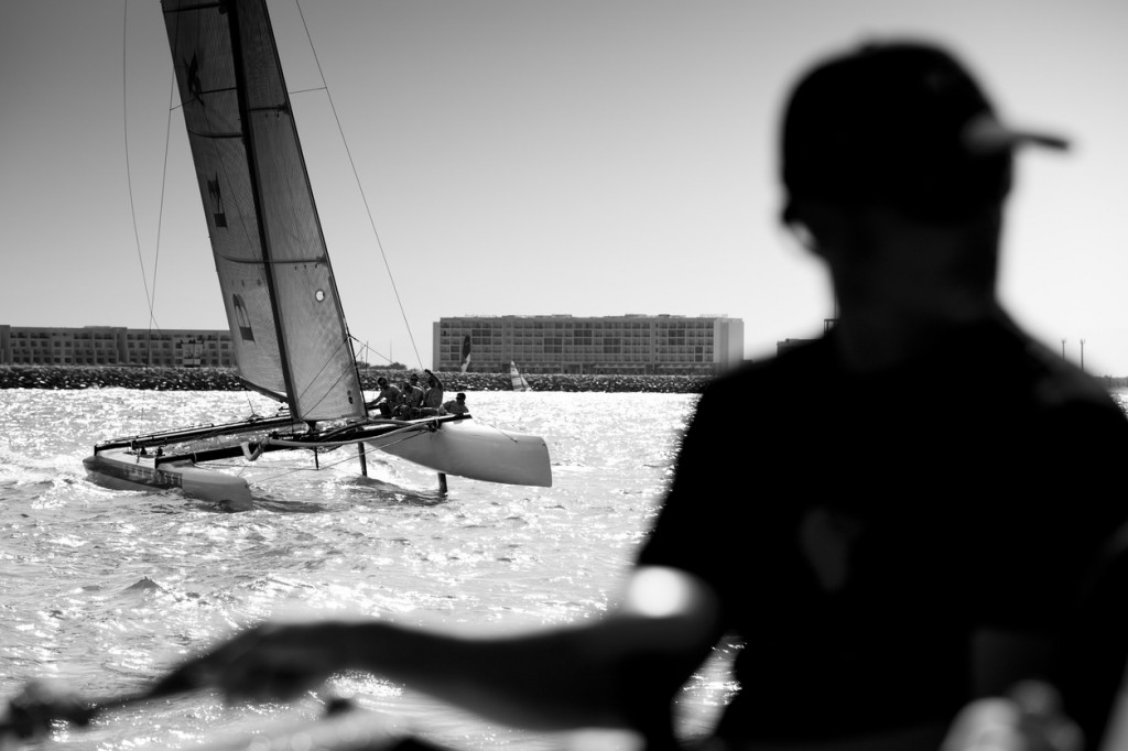 Pictures of the Luna Rossa EX40 catamaran training prior to the start of the 2011 race series (Photo by Lloyd Images)