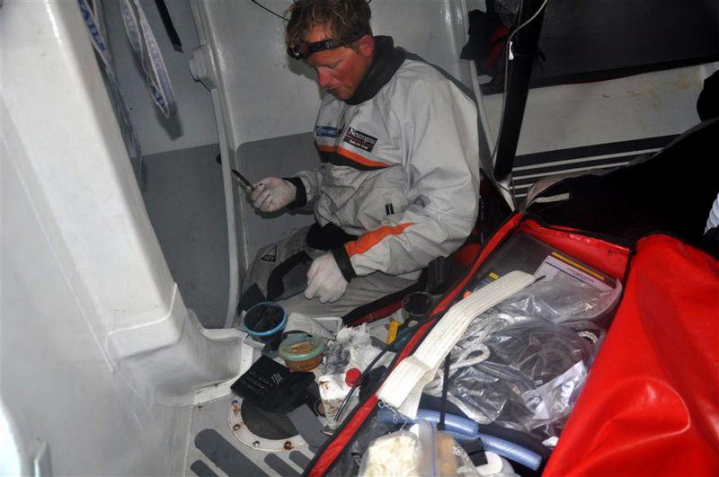 Work on Ballast onboard Neutrogena (Photo courtesy of Neutrogena / Barcelona World Race )