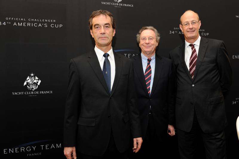 Bruno Peyron, Philippe Court and Richard Worth (Photo by Franck Faugere / DPPI / Energy Team)